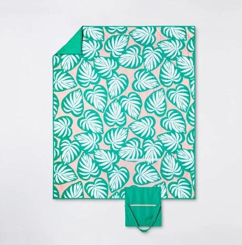 Palm Leaf Picnic Blanket Green/Pink
