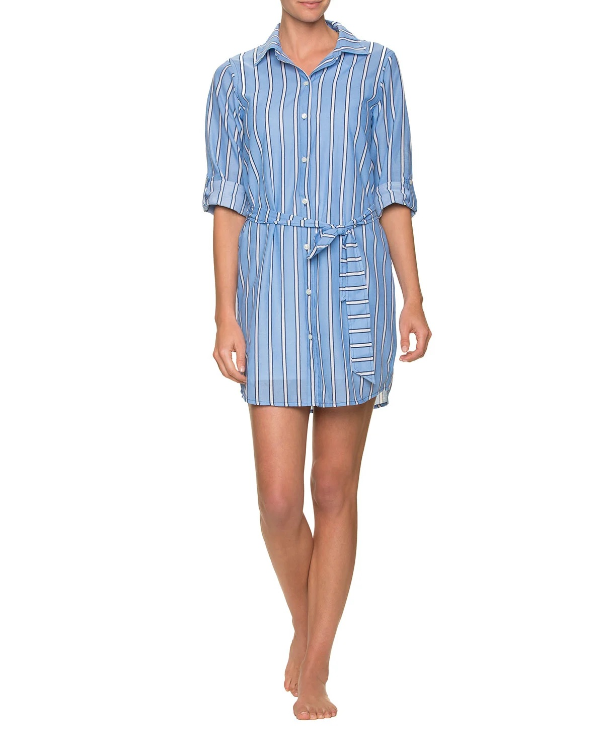 Draper James x Helen Jon Striped Cotton Shirtdress with Belt