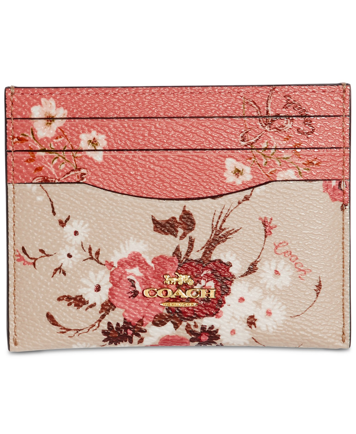 Coach Card Case With Mixed Floral Print