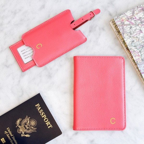 Personalized Pink Leather Passport Holder And Luggage Tag Set