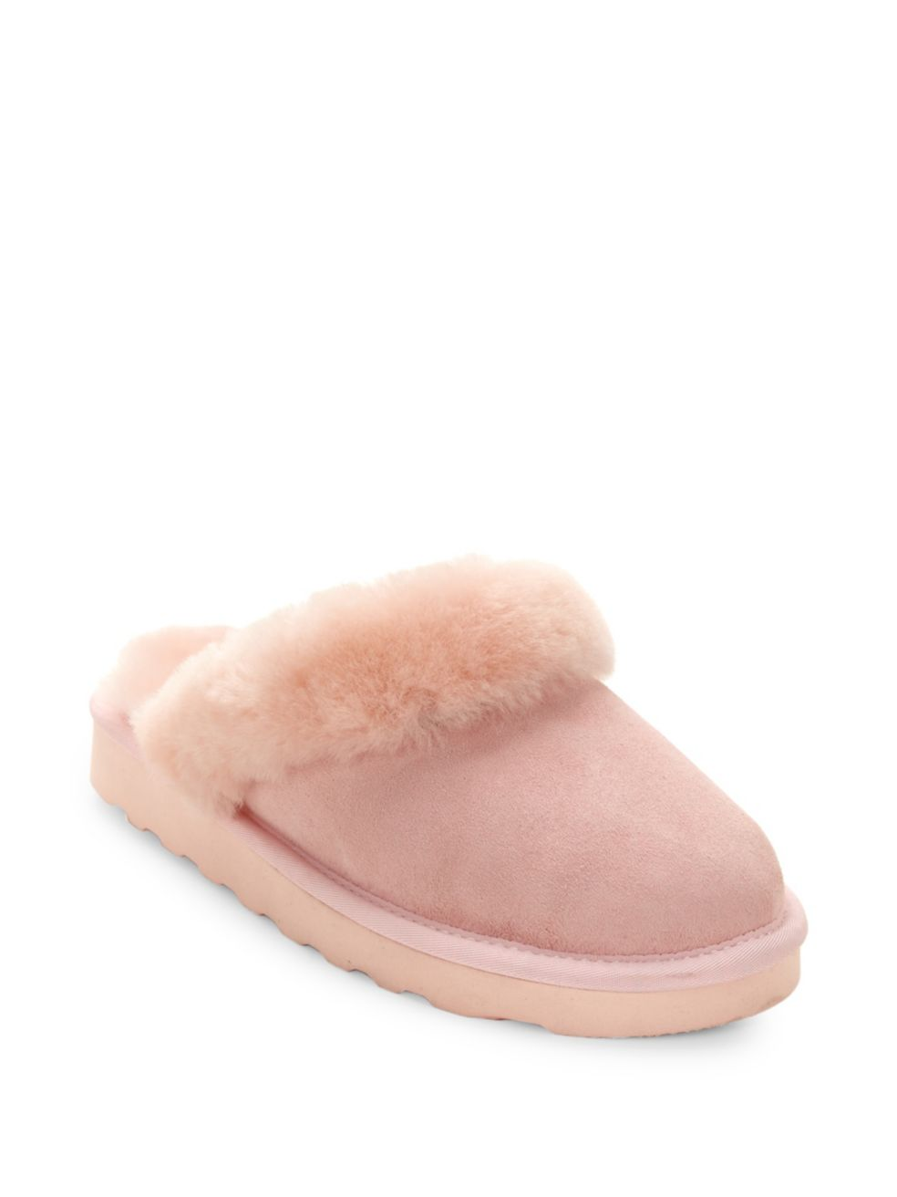Dyed Shearling Closed Mule Slippers