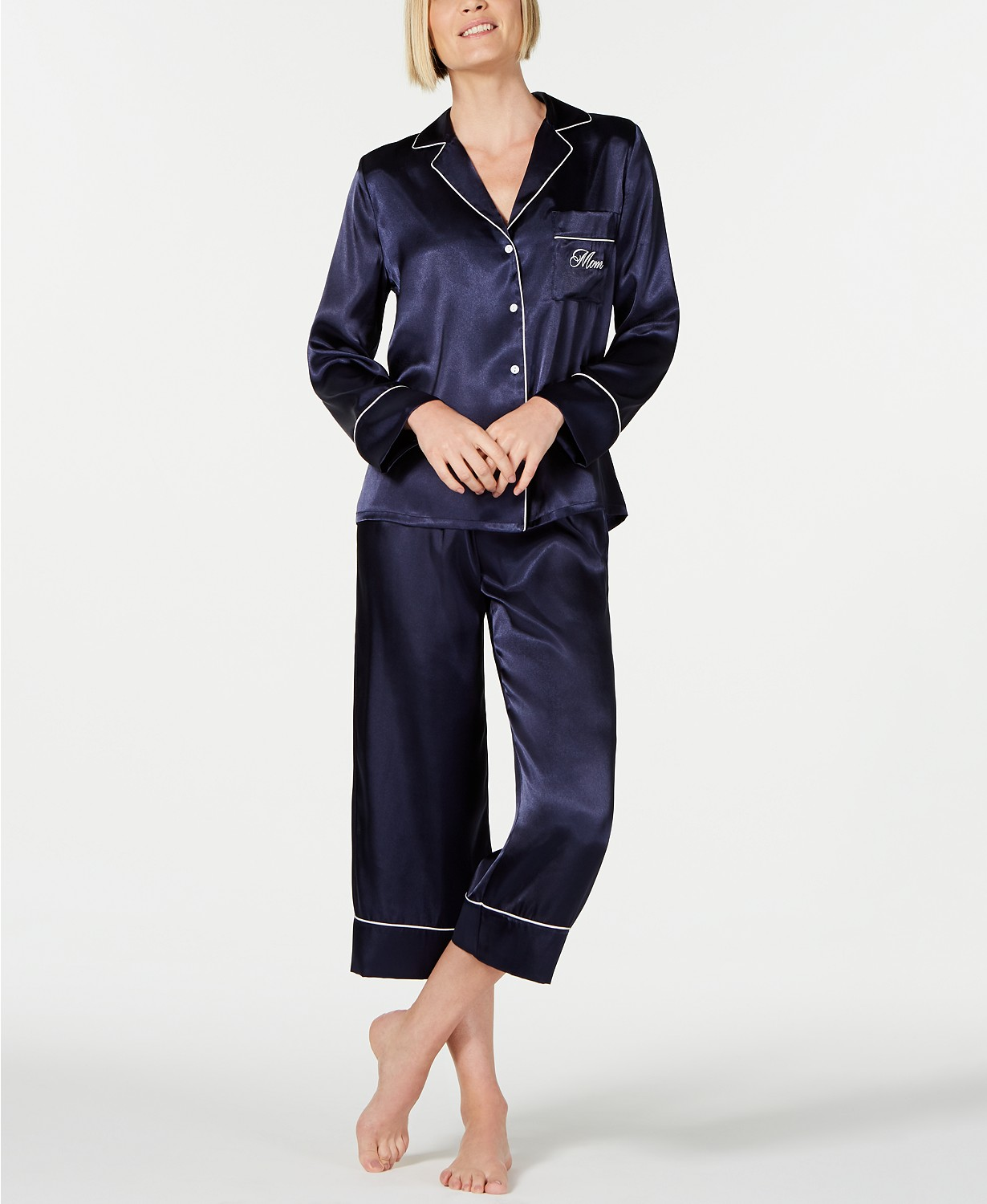 Linea Donatella Mom-Embroidered Top and Ankle Pants Pajama