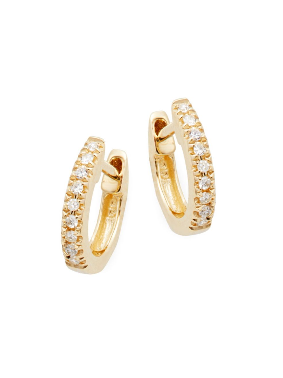 14K Yellow Gold & Diamond Huggie Hoop Earrings