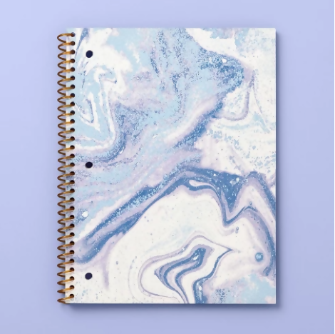 Marble Print Wide Ruled Spiral Subject Notebook - More Than Magic