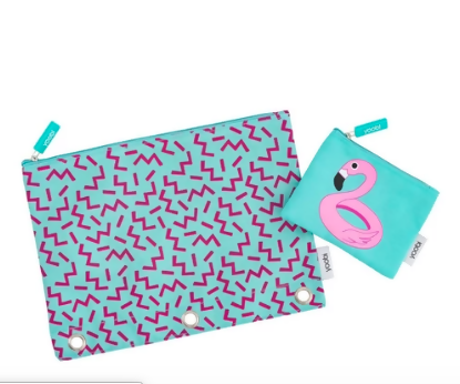 2ct Squiggle Pool Party Flamingo Pencil Case - Yoobi