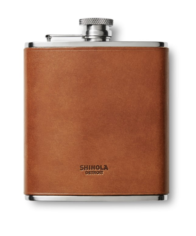 Shinola Leather Wrapped Flask